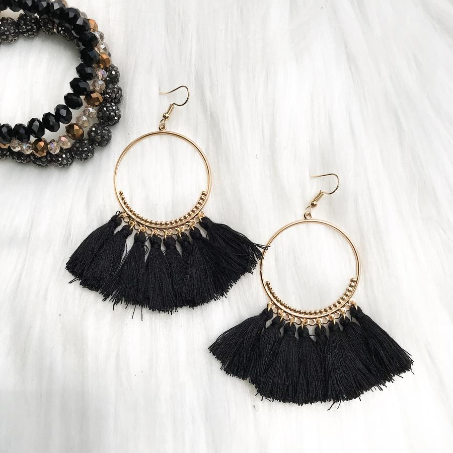 Black Ring Tassel Earrings