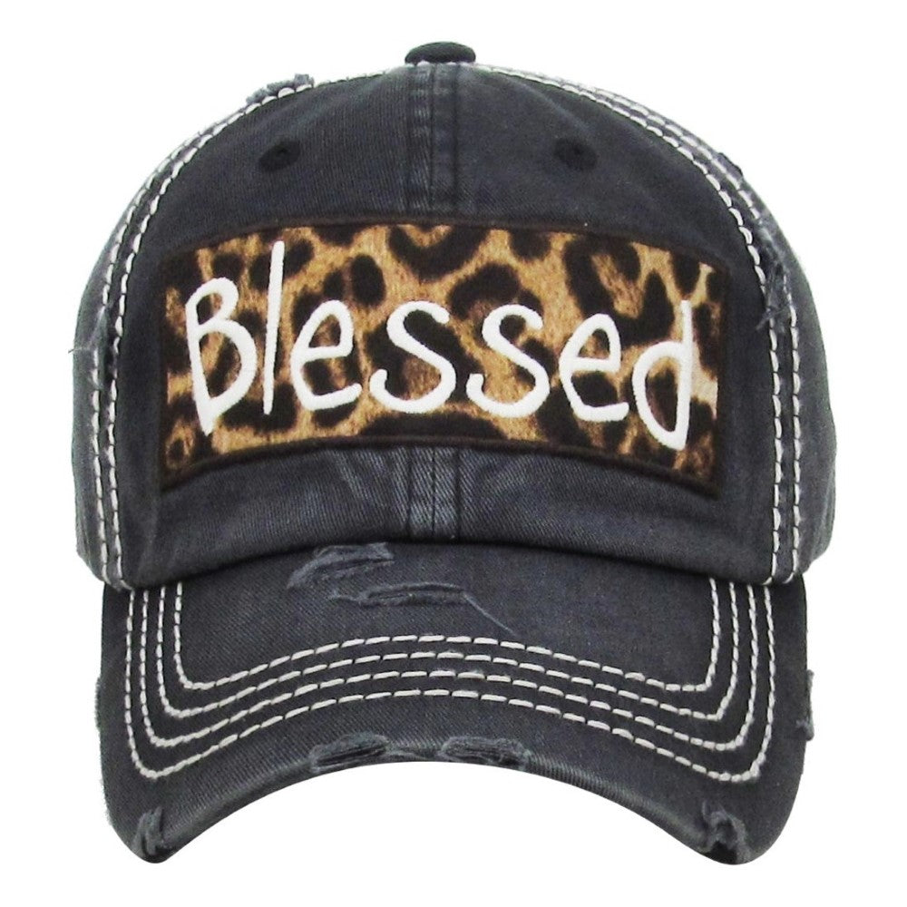 b69eac1d264 Blessed LEOPARD Black Distressed Trucker Cap Hat – Twisted Buffalo ...