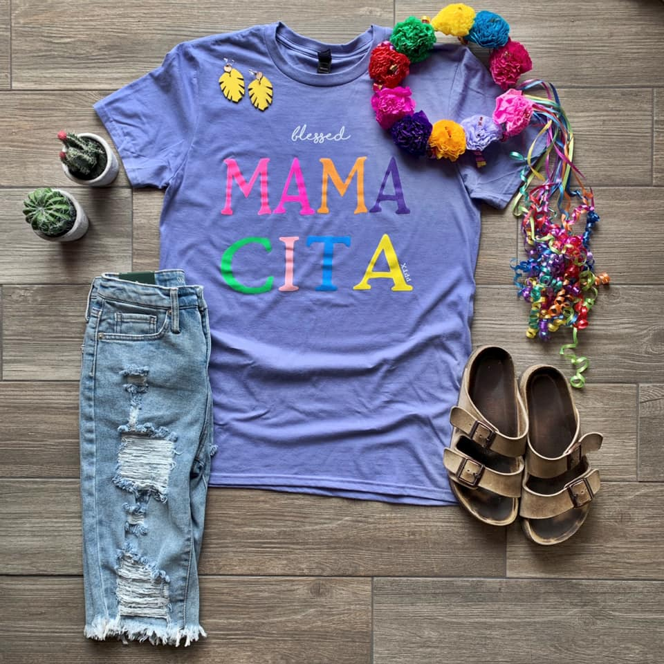 {BLESSED MAMACITA} Violet Bright Letters Crew Neck Tee
