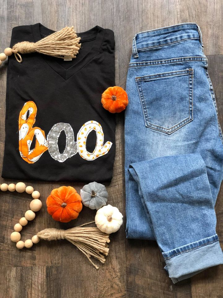 Black {BOO} Hand Appliqued Halloween Fabrics Black V-Neck Tee
