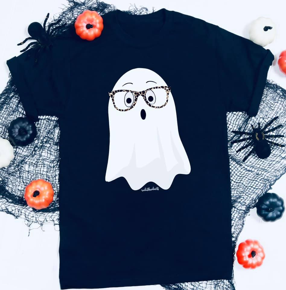 {MY GIRL, BOO} Leopard Glasses Ghost Black V-Neck Tee