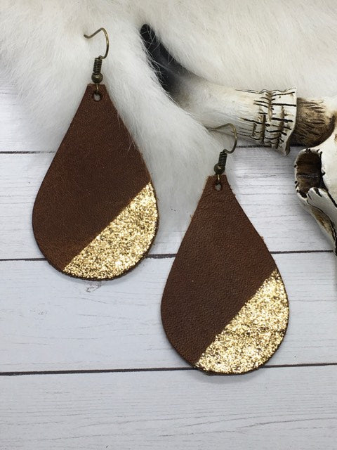 """Chloe"" Distressed Brown with Gold Glitter Accents Chunky Teardrop Earrings"