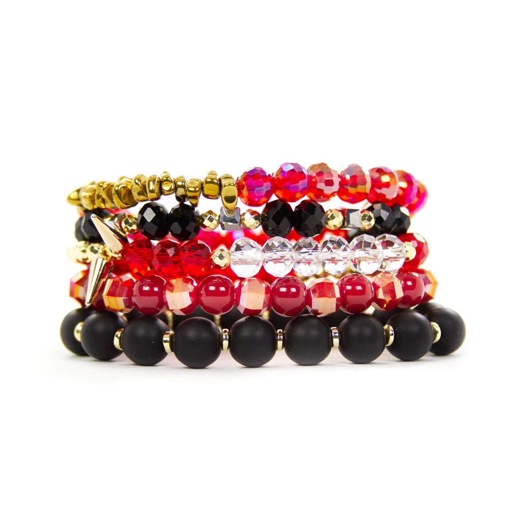 EXTENDED {BUFFY} Plaid Red + Black Bracelet Set (Set of 5)