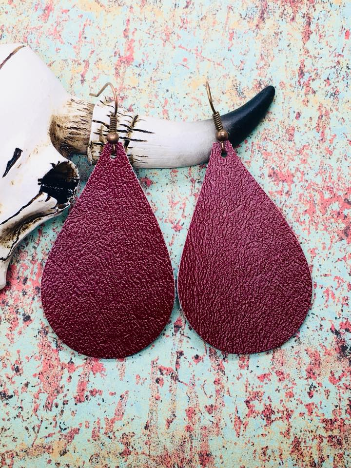 """Desiree"" Burgundy Faux Leather Teardrop Earrings"