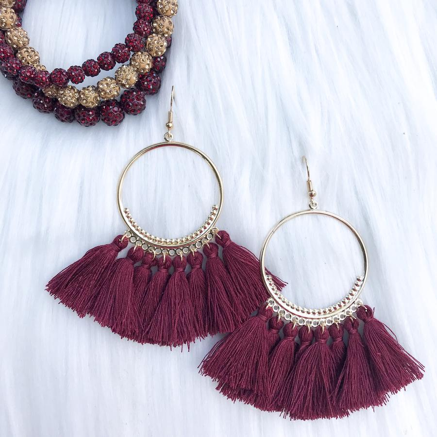 Burgundy Ring Tassel Earrings