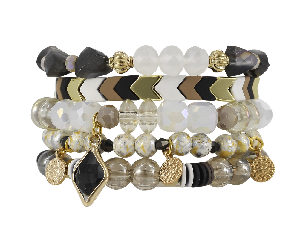 {CASINO} Erimish {Neutral Colored Stones} Stack {Set of 5 Bracelets}