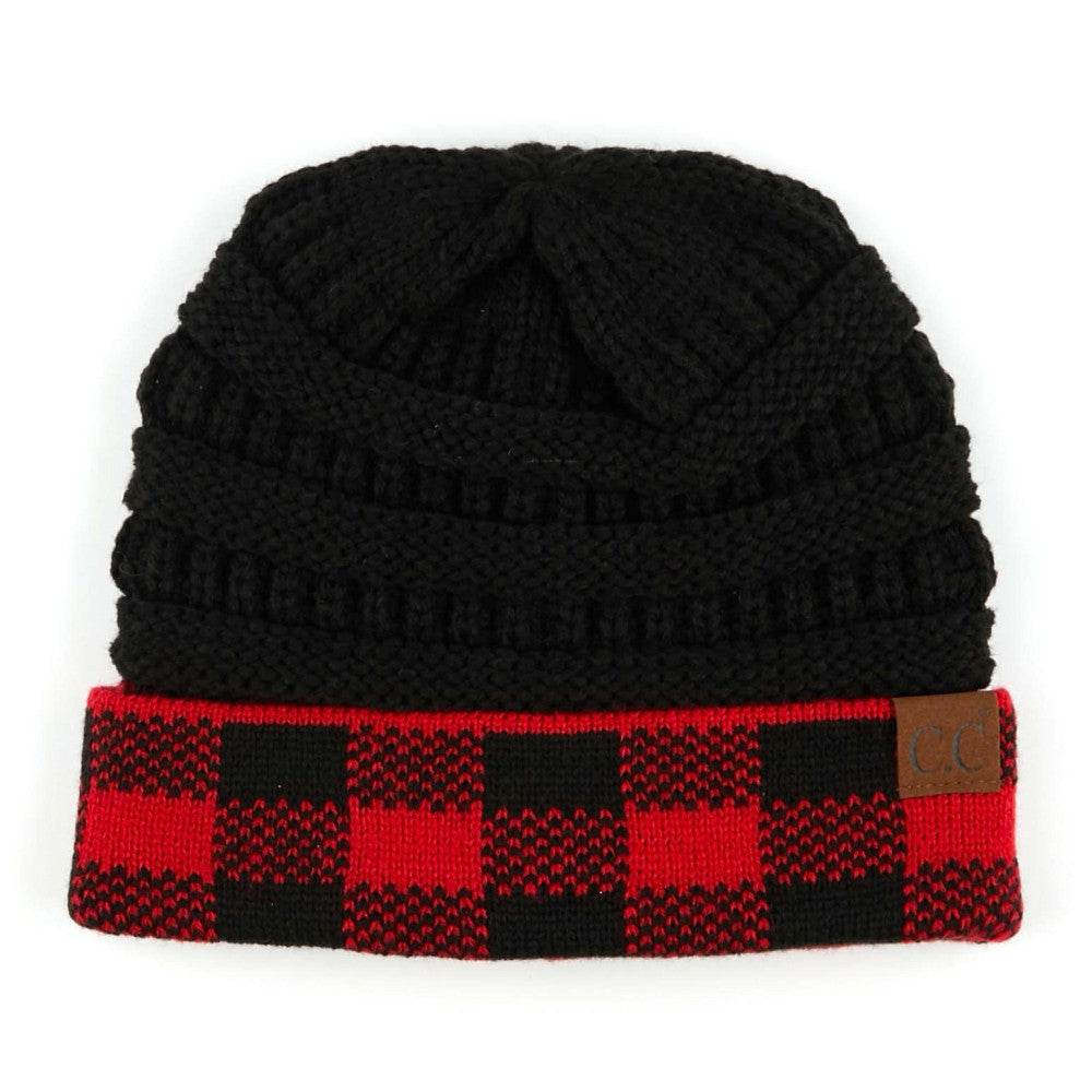 {LUCILLE} Red+ Black Buffalo Plaid CC Beanie Hat