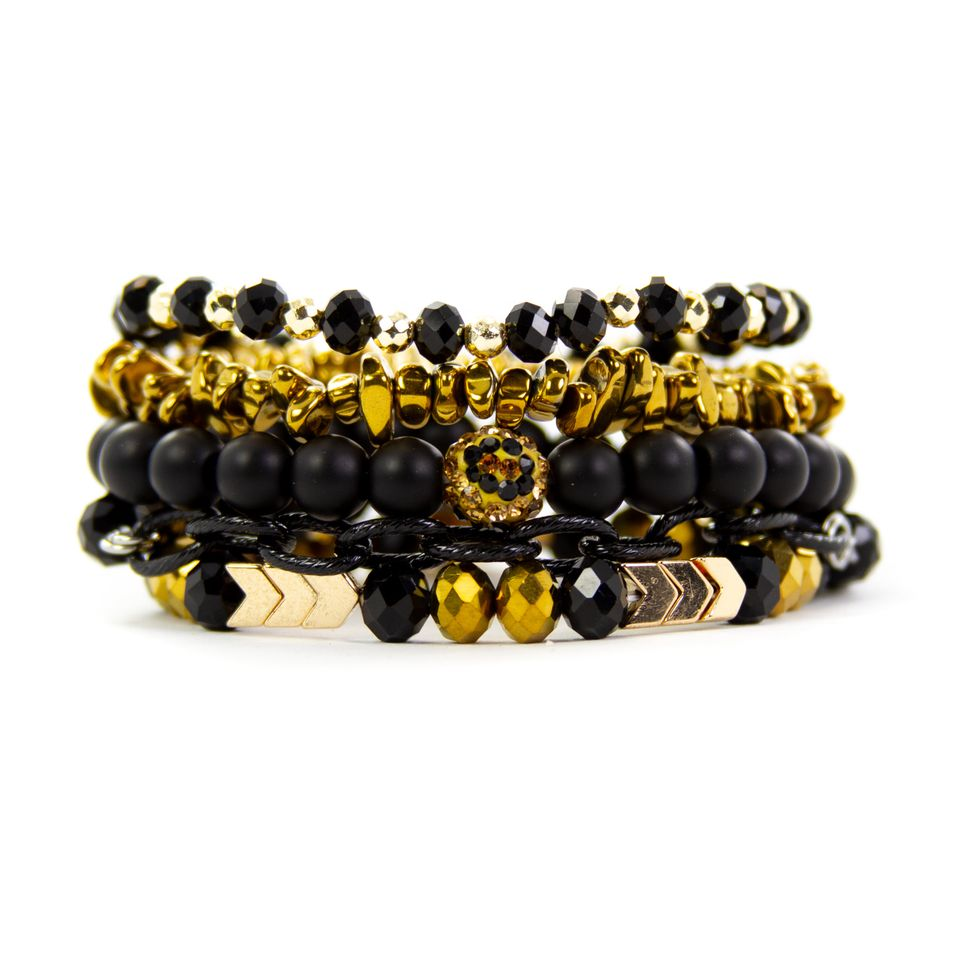 {CHAINED IN LEOPARD} Leopard, Black + Gold Bracelet Set of 5