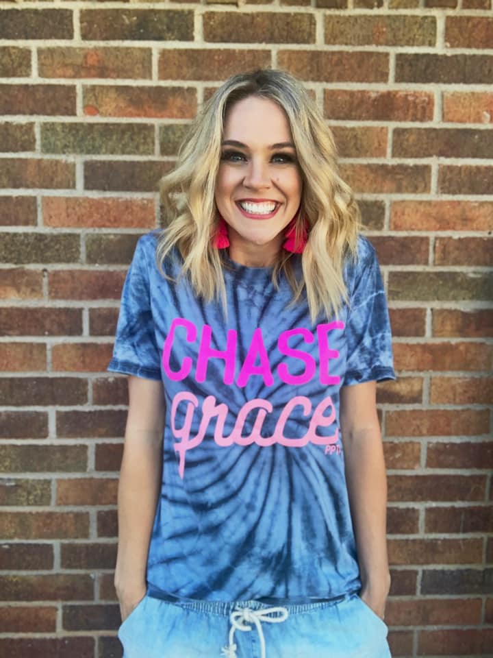 {CHASE GRACE} Navy Acid Wash Tie Dye Crew Neck Tee
