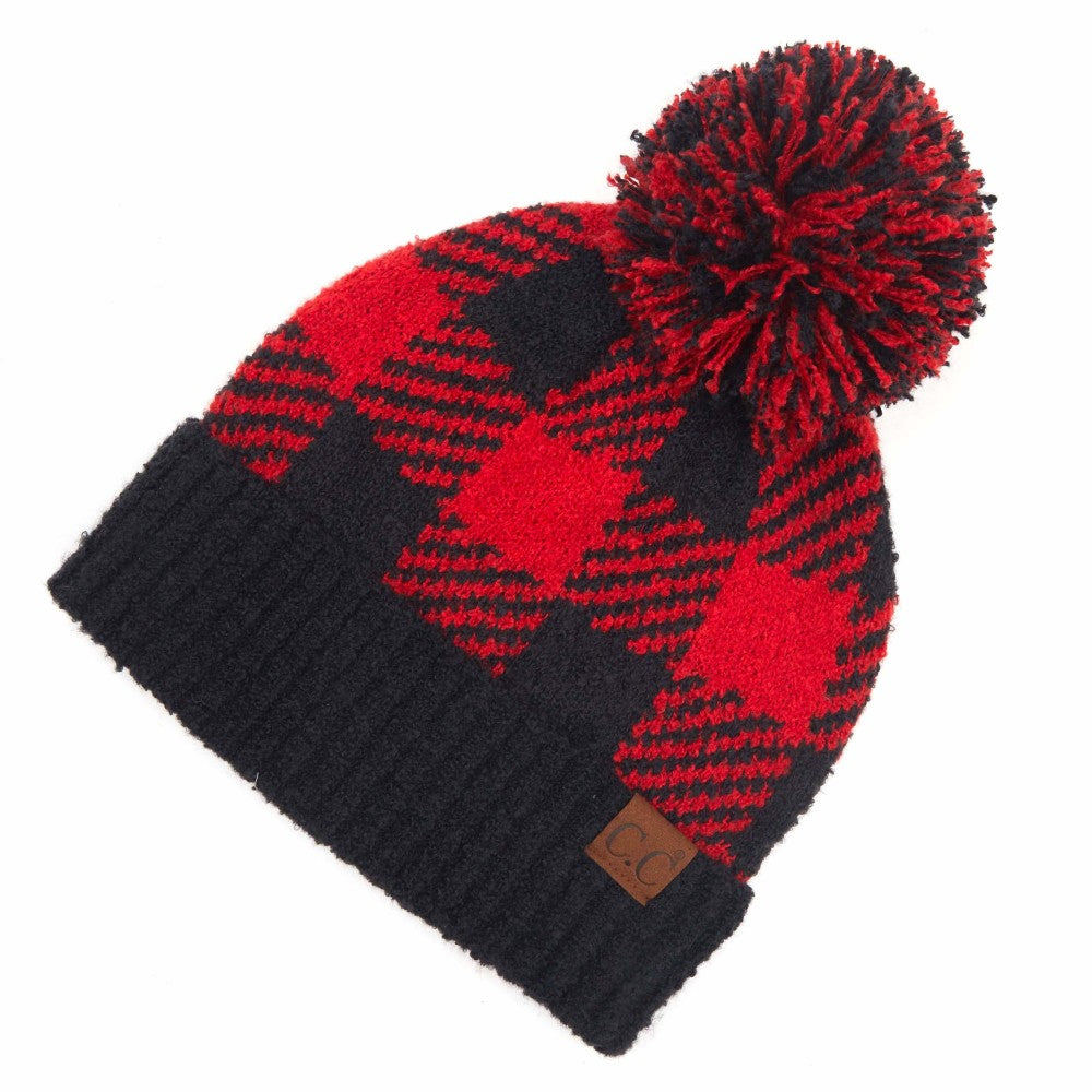 {CINDY LOU} Red + Black PLAID Pom CC Beanie Hat