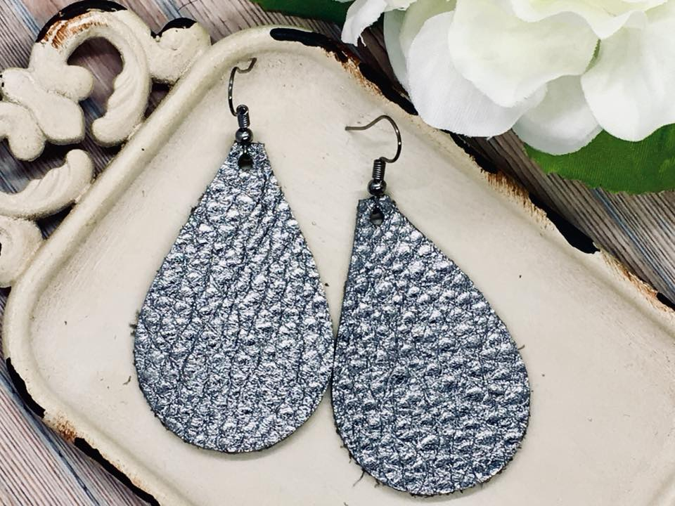 """Cogburn"" Metallic Pewter Cowhide Leather Teardrop Earrings"