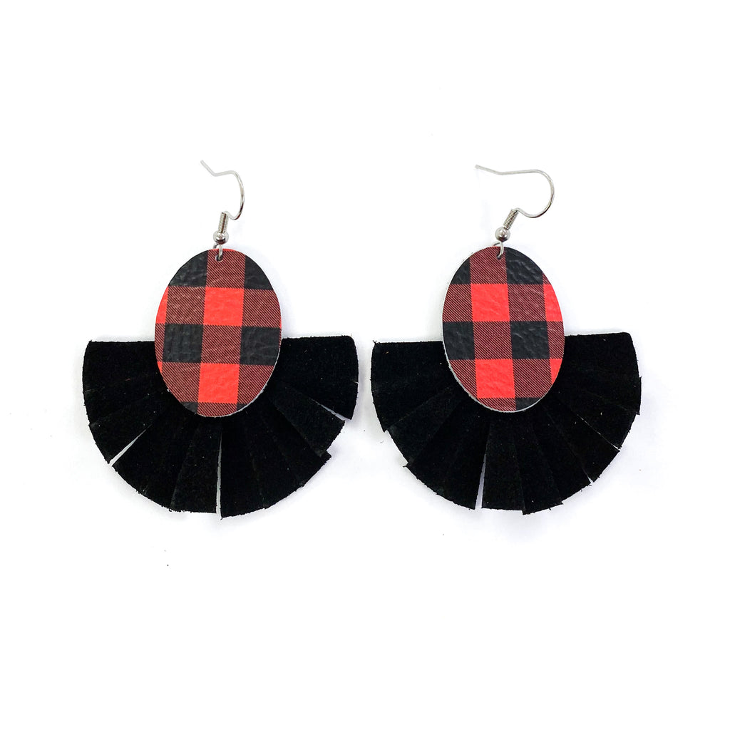 """Crystal"" Red + White Buffalo Plaid Black Fringe Earrings"