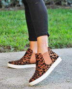{GWYNETH} Leopard High Top Casual Slip On Sneakers