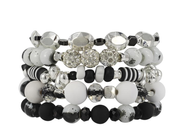 {DALMATIAN} Erimish {Classic Black + White} Stack {Set of 5 Bracelets}