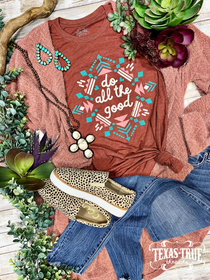 {DO ALL THE GOOD} Fall Aztec Clay Crew Neck Tee