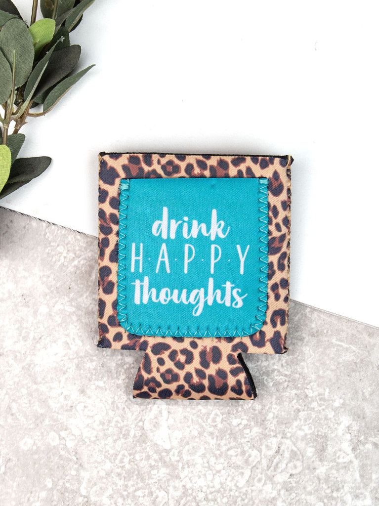 Drink Happy Thoughts Turquoise + Leopard Can Cooler Koozie