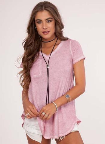 Dusty Rose Dye Knitted Top *Size DOWN One Size