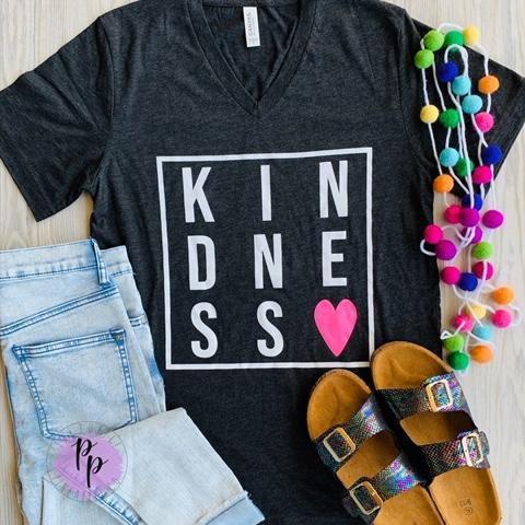 Bright Pink Heart {KINDNESS} Char-Black V-Neck Tee
