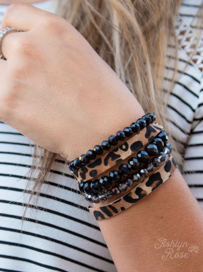 {ELVIS} Leopard + Black Stacked Bracelet Set