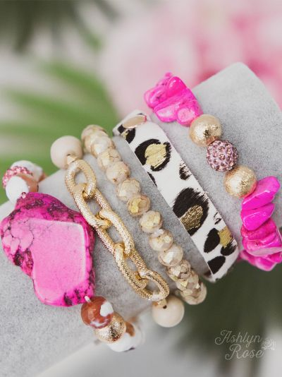 {FLAMINGO} Pink + Leopard Stacked Bracelet Set