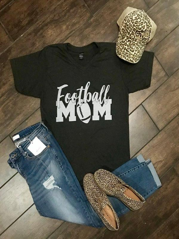 Sweet Tee Tuesday $20 Special:  Football MOM Black or Gray V-Neck