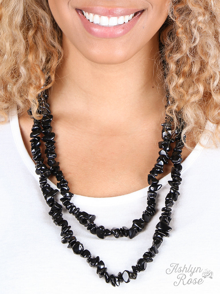 "{FREY} Obsidian Natural Stone Double Wrap 60"" BLACK Necklace"