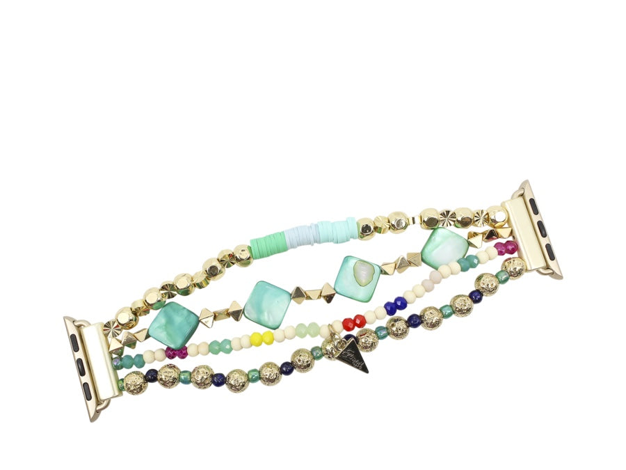 Erimish {TONI TURQUOISE} Pink + White Stretchy Beaded Apple Watch Band 14cm (Fits 38MM + 42MM)