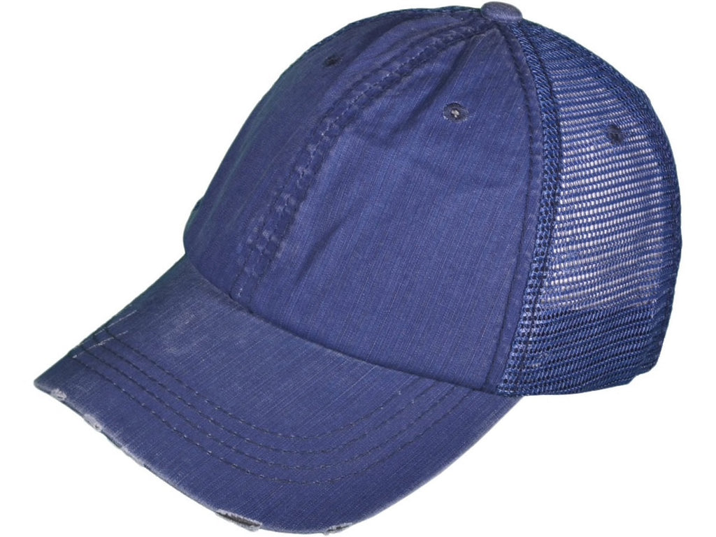 Raining Rebel ROYAL BLUE Distressed Trucker Hat/Cap