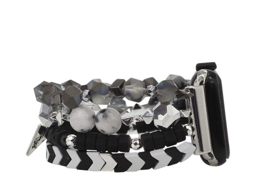 Erimish {BLACK + WHITE} Stretchy Beaded Apple Watch Band 14cm (Fits 38MM + 42MM)