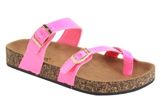 {EMMYLOU} Criss Cross Hot Pink Buckle Sandals