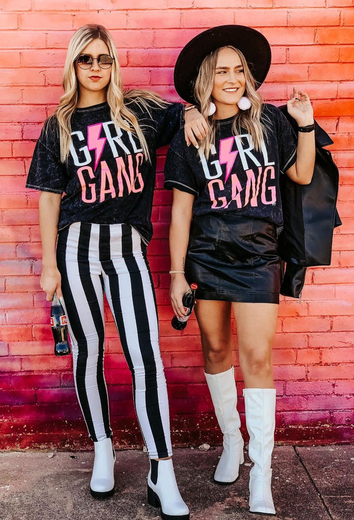 Pre-Order:  Ships 4/7 {GIRL GANG} Hot Pink Lightning Bolt + Black Crew Neck Tee