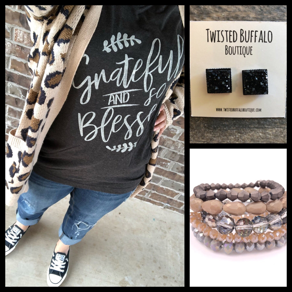 {GRATEFUL & BLESSED} Graphite Black V-Neck Tee