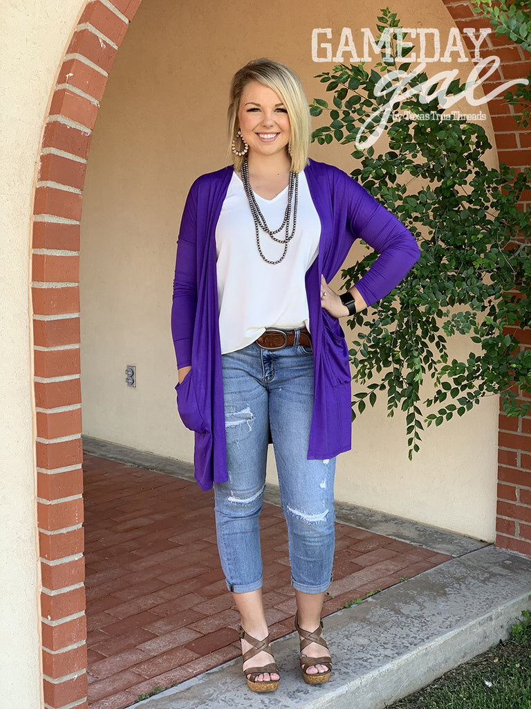 {GRETCHEN} Purple Cardigan with Pockets