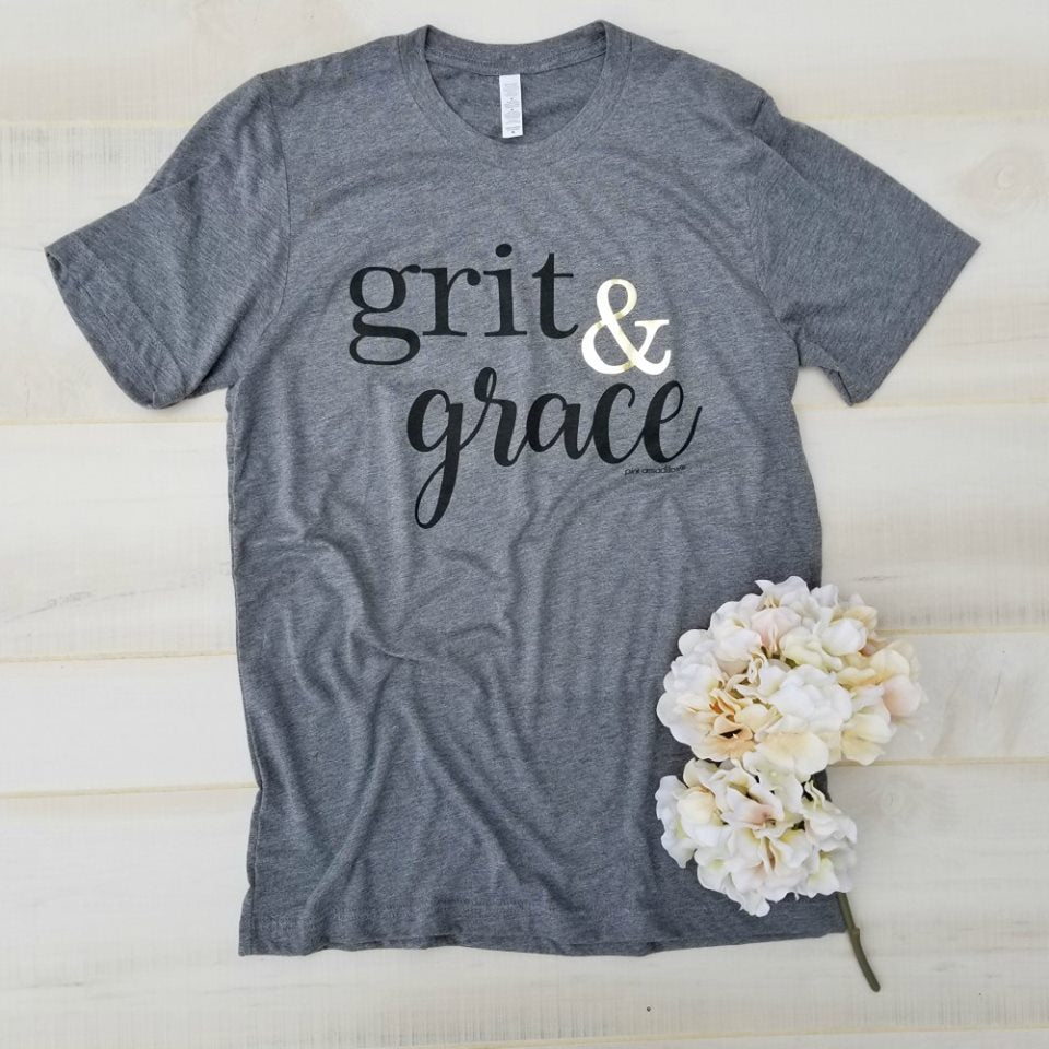 Grit & Grace {Gold Foil &} Dark Gray V-Neck Tee