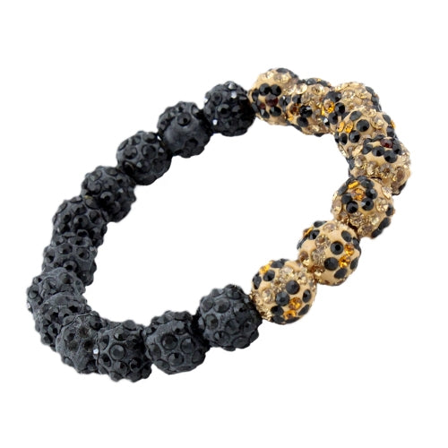 """On The Edge"" Black and Leopard Stretch Bracelet"