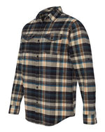 {HARVEST} Navy, Black, Gray + A Touch of Orange Plaid Flannel Shirt