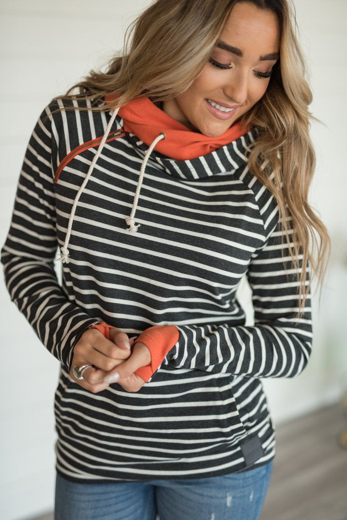 DoubleHood Hoodie:  Harvest Blessings {Charcoal Stripes + Orange} SIZE UP 2 SIZES!