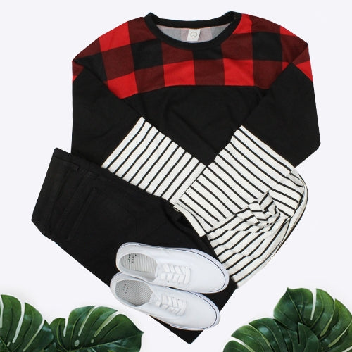 {HOLIDAY MIXER} Red + Black Plaid, Black + Stripes Colorblock Long Sleeve Top