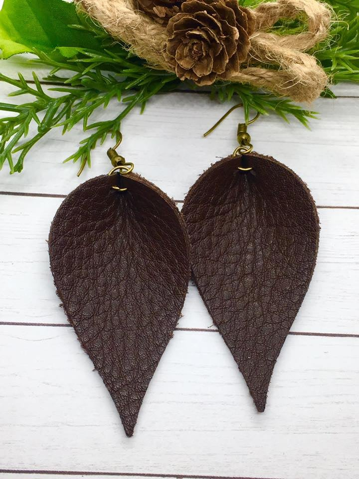 """Hot Cocoa"" Chocolate Brown Leather Petal Earrings"