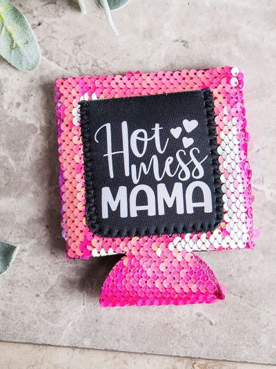 Hot Mess Mama PINK SEQUINS Can Cooler