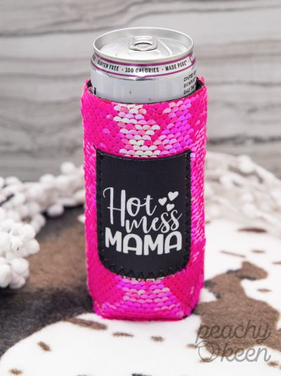 SKINNY Hot Mess Mama PINK SEQUINS Can Cooler