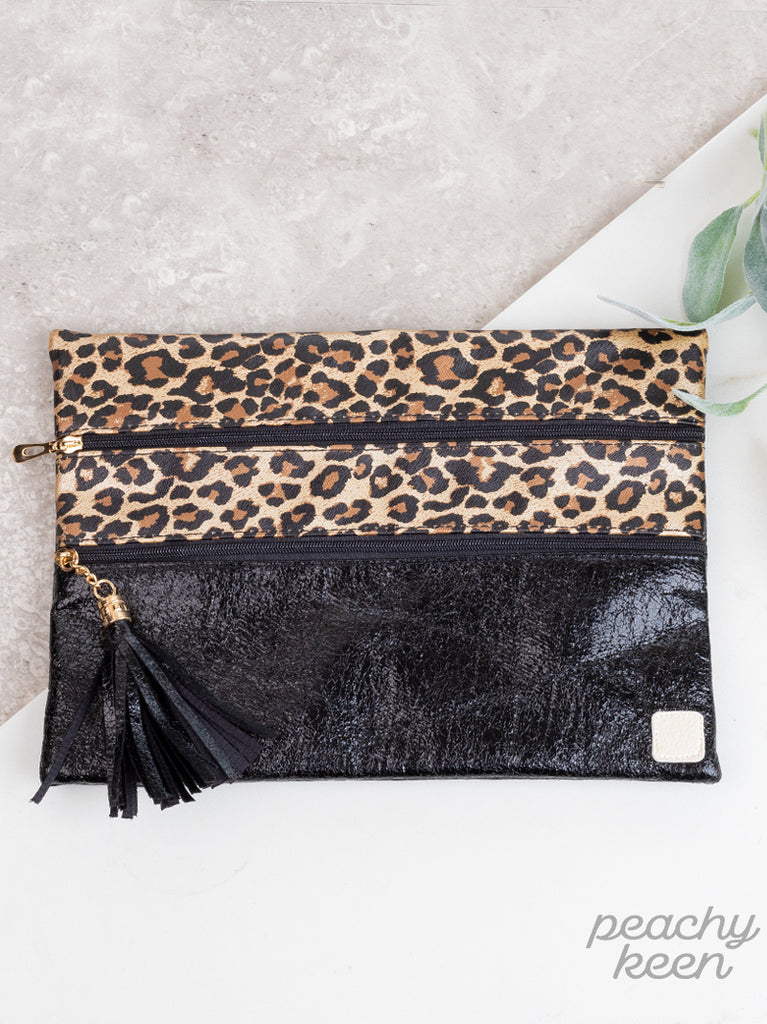 {HOUSTON} Leopard + Black Double Zipper Bag