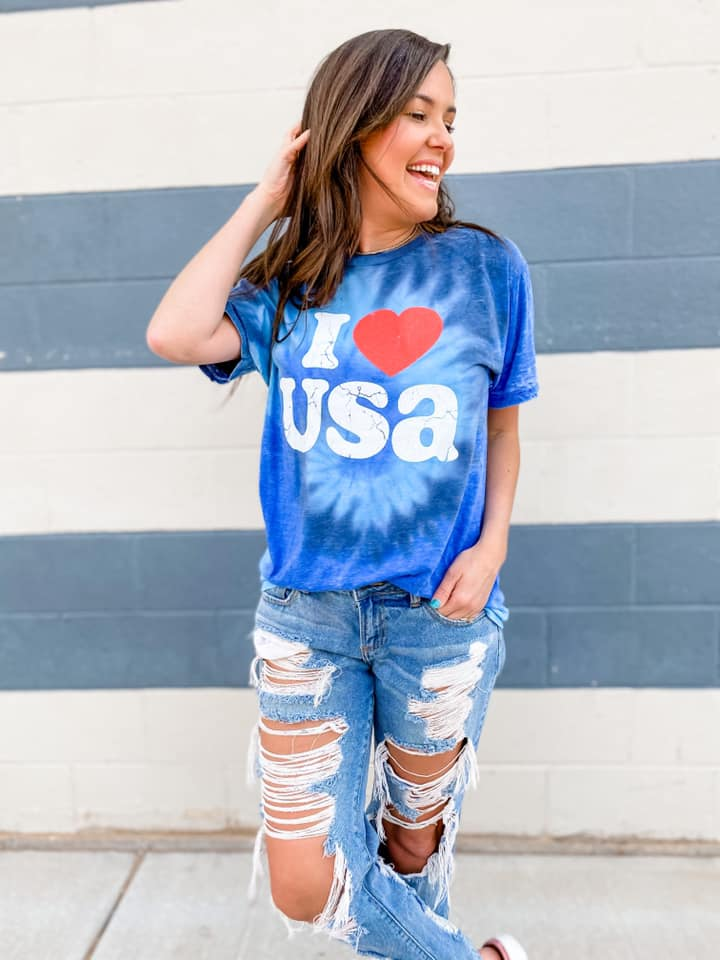 {I LOVE USA} Blue Tie Dye Acid Wash Crew Neck Tee