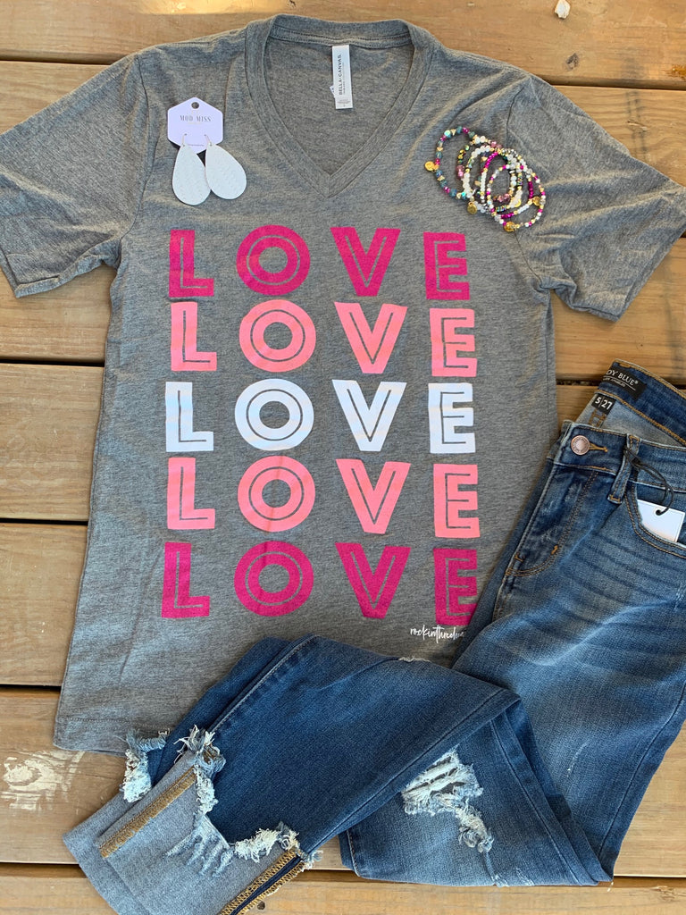 {LOVE YOU FOREVER} Colorful Gray V-Neck Tee