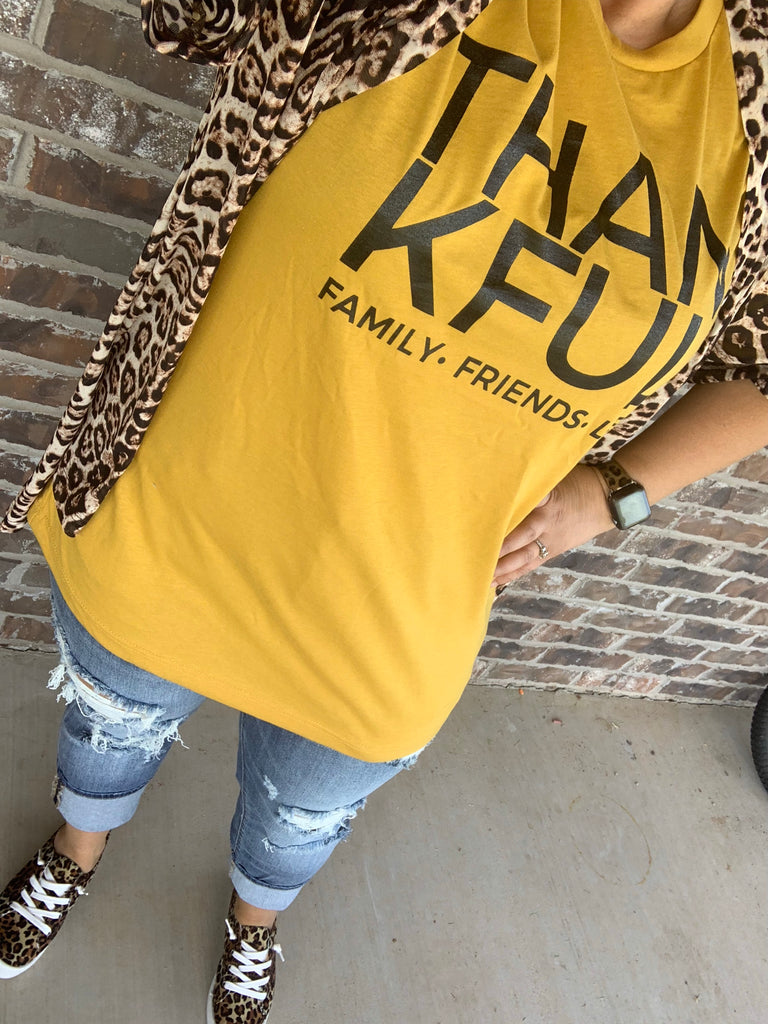 Mustard {THANKFUL} Family Friends Life Crew Neck Tee