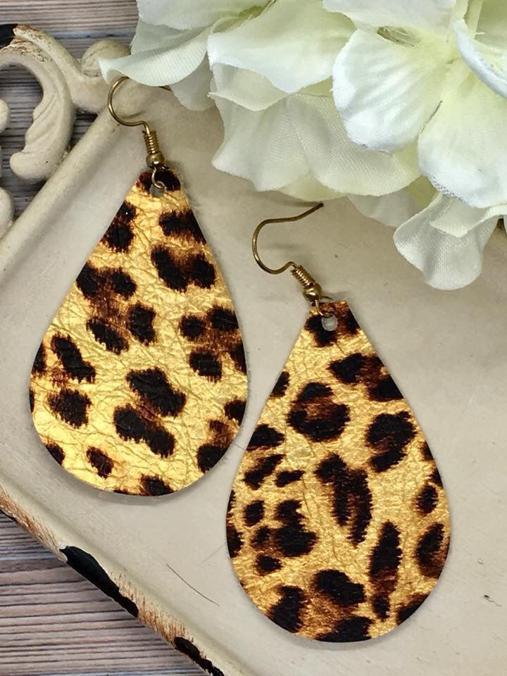 """Janie"" Metallic Leopard Leather Teardrop Earrings"