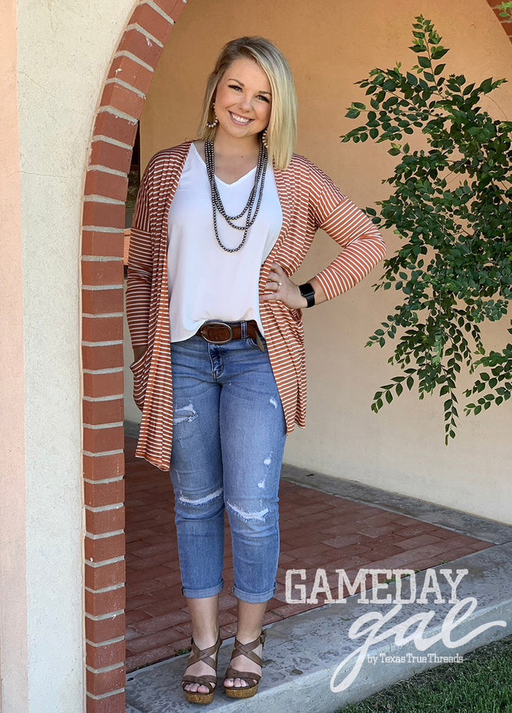 {LONGHORN} Burnt Orange + White Striped Cardigan with Pockets