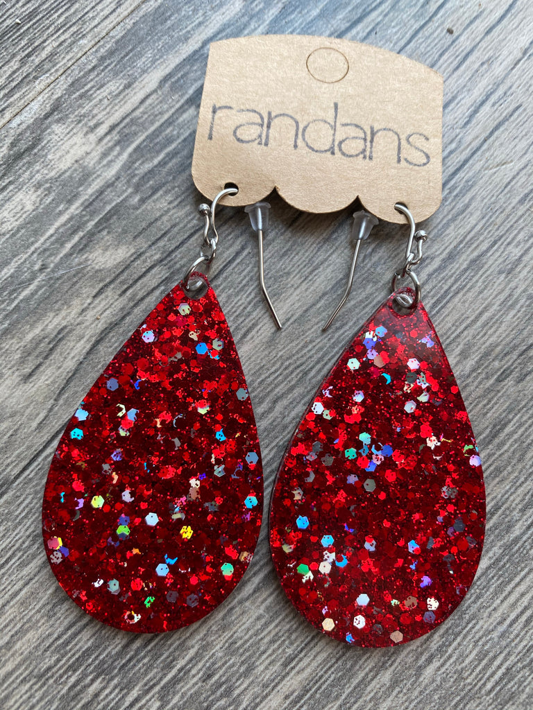 """A Christmas Story"" Red Glitter Handcrafted Resin Earrings"