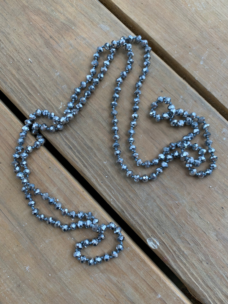 "{CALIFORNIA} Gunmetal • Double Wrap Beaded 60"" Necklace"
