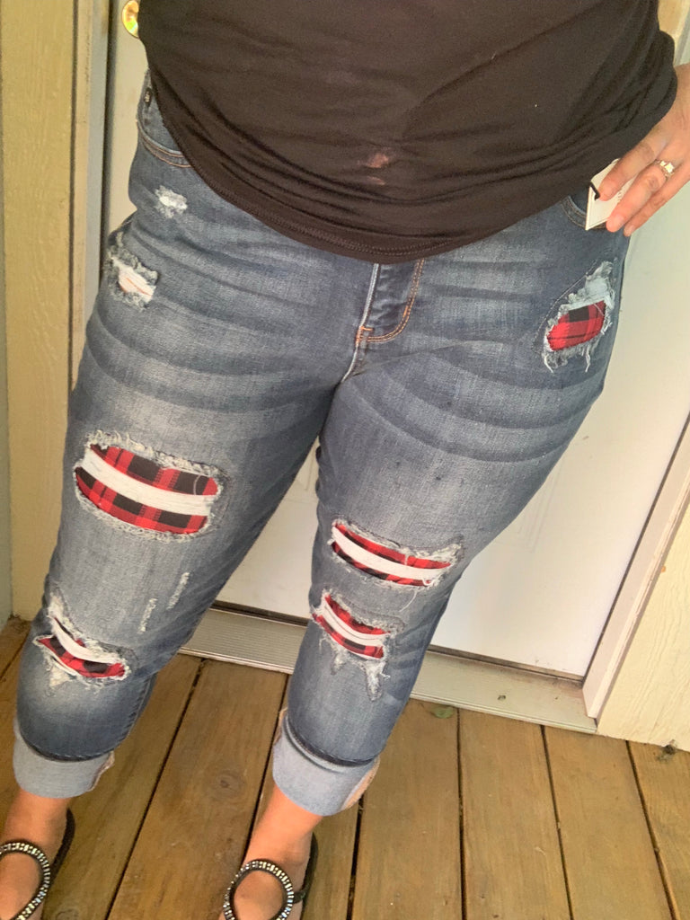 {RINGO} Judy Blue RED + BLACK BUFFALO PLAID Patch Distressed Skinny Jeans